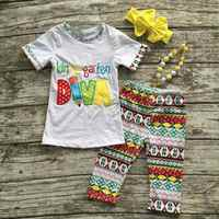 girls back to school otufits baby girls Kindergarden DIVA clothing shorts sets capri pants summer outfits with ACCESSORIES