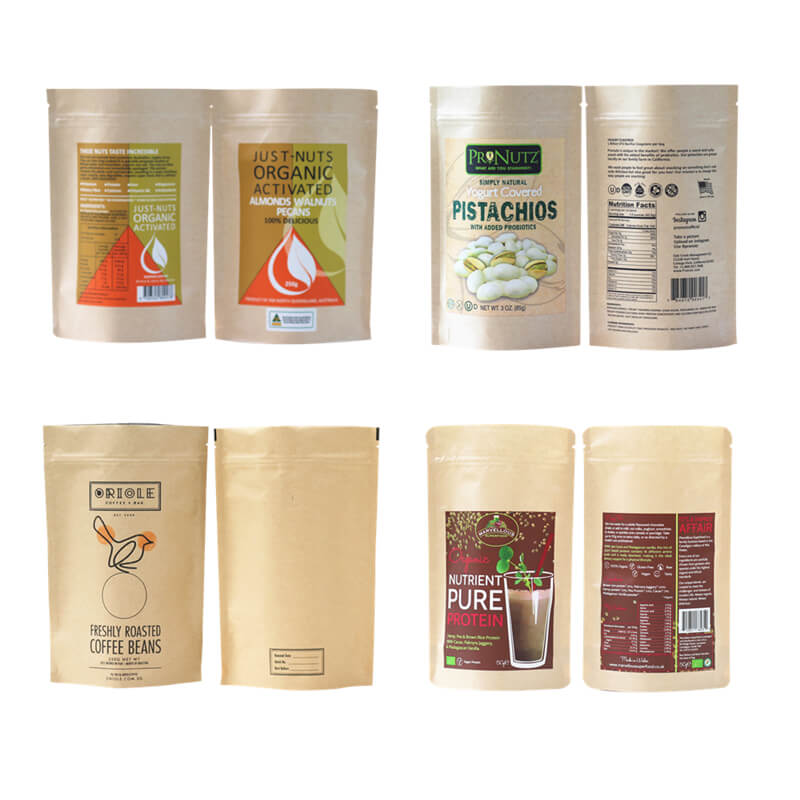 customized Zipper Top kraft paper bag heat seal factory
