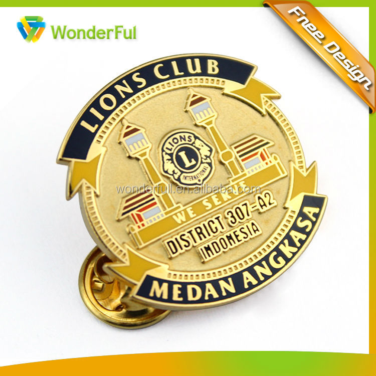 2015 Wholesales High Quality Gold Plating And Enamel Finished Lions Club Souvenir Military Metal Pin Badge