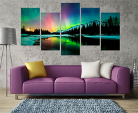 5Piece canvas Wall Canvas Prints Art Poster Colorful Aurora Borealis Art Painting Canvas Quadros Home Decor Art Prints Painting