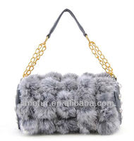 Fashion Elements Cylinder Shape Small Rabbit Fur With Rivet Bag With Metal And PU Shoulder Belt/Hot Sell/More Color Available