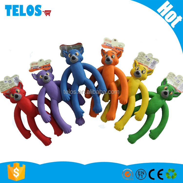 Pet interaction squeaky latex arm monkey play toy
