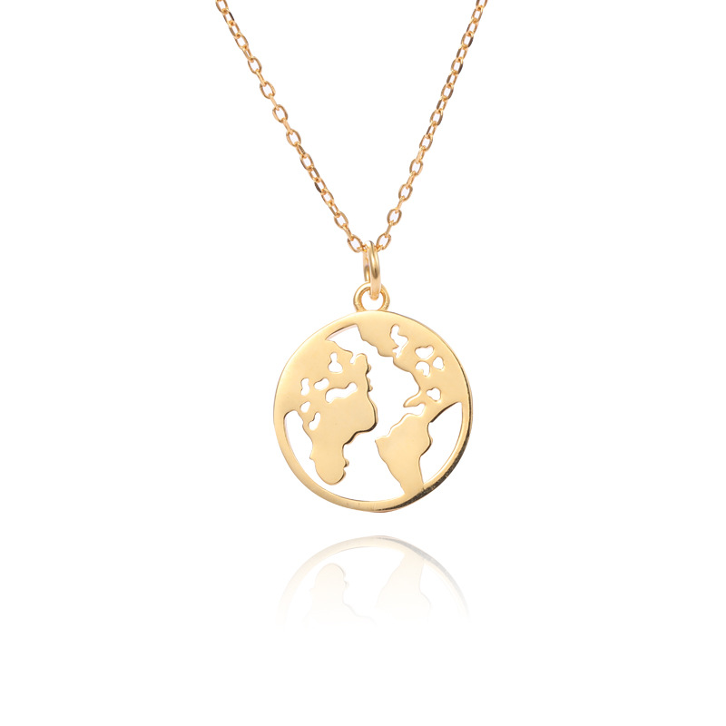 Women Sterling <strong>Silver</strong> 14K Gold Plated Circle World Map Pendant Necklace with 45cm Cable Chain Your World Necklace