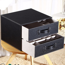 multifunctional plastic compartment storage box for putting underware,adjustable Leather utility storage box