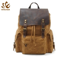 ODM supplied travel bag leather trim canvas <strong>school</strong> back pack mens backpack