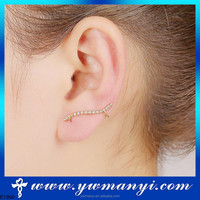 Very Attractive Sexy 18KGP Gold Plated Crystal Left Ear Clip On Stud Earring Charm Design SE00087