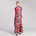 2017 women clothing manufacturer printed wholesale long sleeve maxi dress
