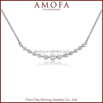 Fashion Jewelry Cubic Zirconia Stone silver fashion necklace, Heart type sterling silver necklace