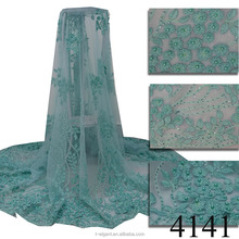 Quality design 3d beaded embroidery flower lace /3d lace fabric beads bridal