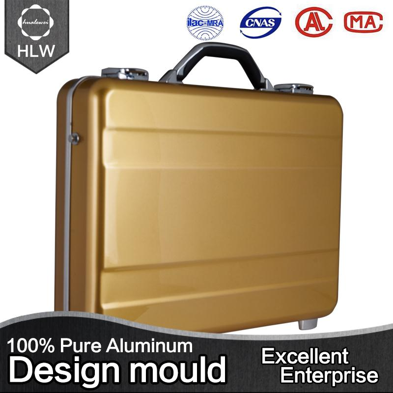 HLW aluminum metal suitcase trolley fabric briefcase/business bag