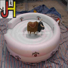 Hot Sale White 5m Round Crazy Game Inflatable Bull Riding Machine For Adults