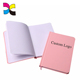 Custom logo pink hardcover notebook with special paper cover