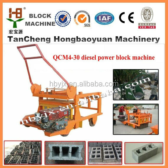 hot sale in united arab emirates!QCM4-30 movable concrete block making machine for house designs
