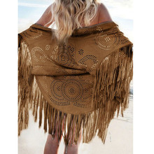 Women Faux Suede Leather Cut Out Summer Beach Cover Up Kimono Long Fringes Tassels Thin Coat Cardigan Jacket 2015 Blusa Feminino