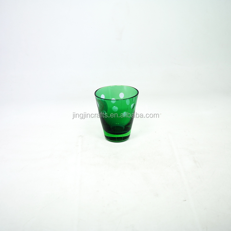 90ml Wholesale Green Colored Engraved Glass Tumbler Tea Cup