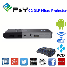 2016 Factory price DLP C2 RK3128 Micro projector 1g 8g home theater android receiver hd with CE certificate KODI TV BOX