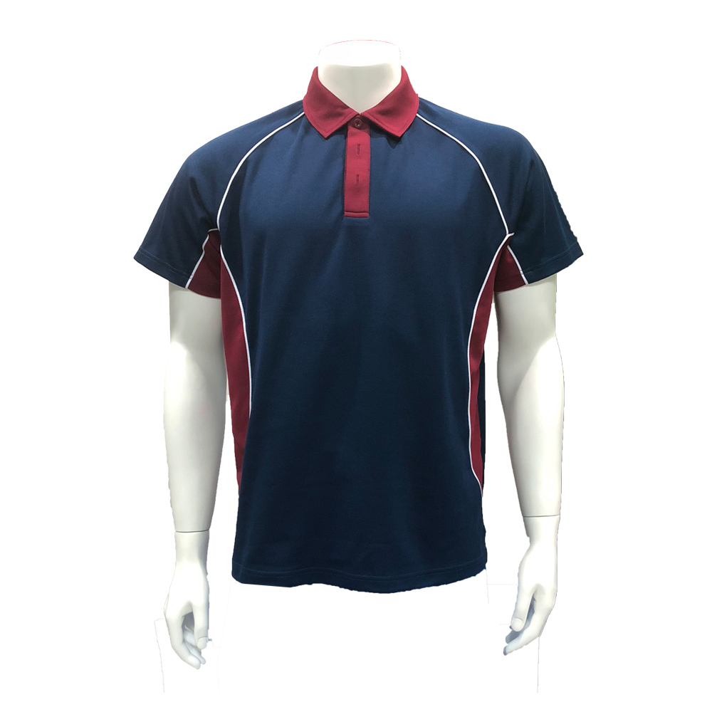 Men's Polyester Cotton Aero Mesh <strong>Navy</strong> Maroon Polo Shirts