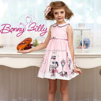elegant teenage school girl's printed cotton pink dresses with belt, new fashion childrens wear