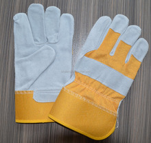 LUJIANG SAFETY protection hand leather gloves CE cow split industrial welding work gloves printed customzied logo