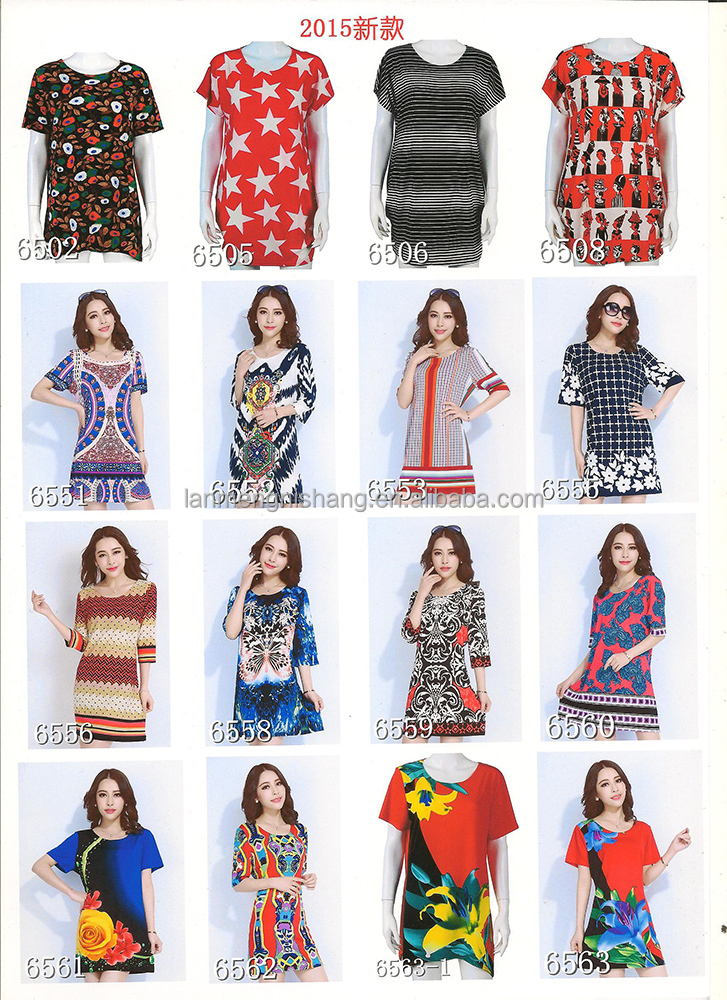 Stock lot for sale female dress with printed flower pattern