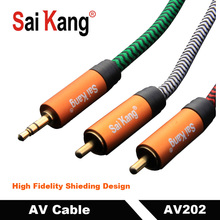 SaiKang Oxygen free copper PVC with Nylon braid 24K Gold-plated male to RCA L/R 0.5m 5m 10m 30m 3.5mm to 2 RCA Audio cable