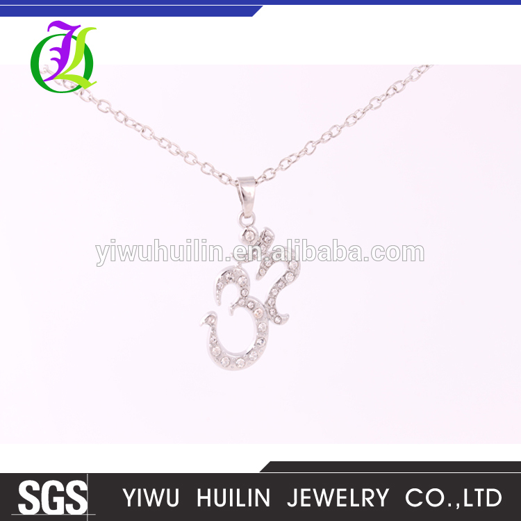 A500187  Yiwu Huilin Jewelry hot sale custom digital 32 silver crystal pendant alloy charm   necklace