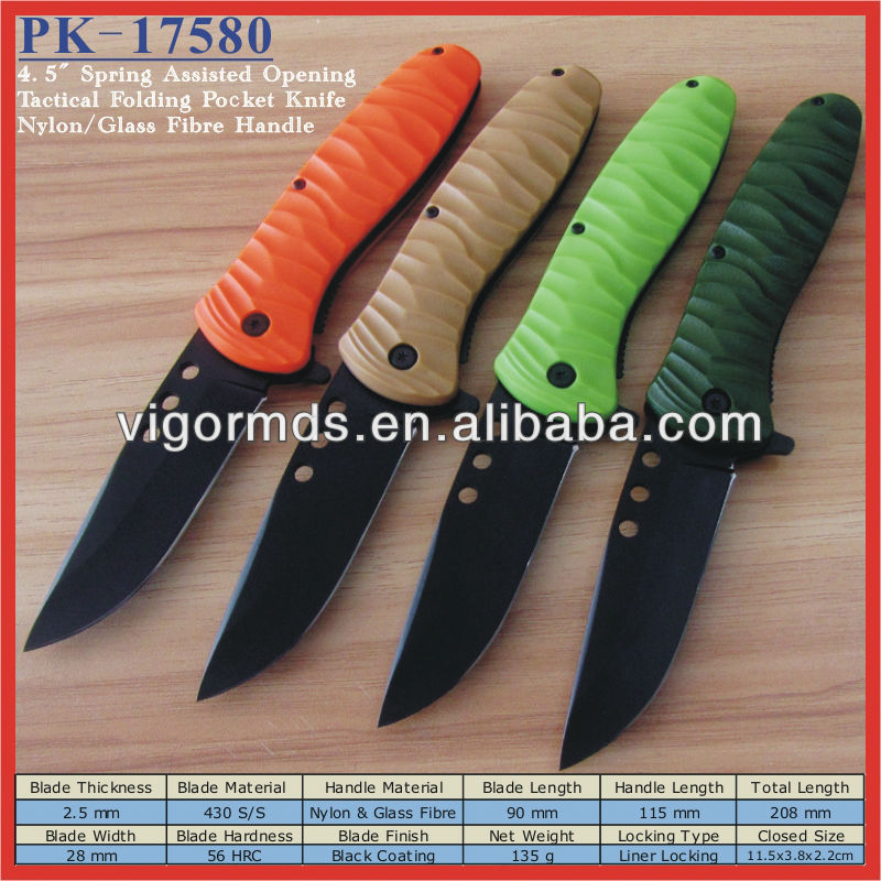 "(PK-17580) 4.5"" Glass Fibre Handle Black Blade Assisted Open Military Tactical Camping Pocket Knife"