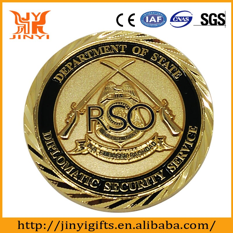 Custom different color of plating enamel coin