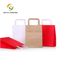 Kraft paper rigid color printed unique flat handle paper grocery bag