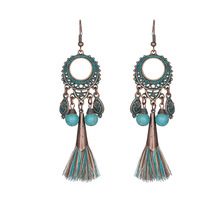 New Design Wholesale Vintage Ethic Alloy Women Long Tassel Statement Earrings