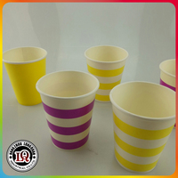 Disposable Horizontal Line Single Wall Drinking Paper Cup