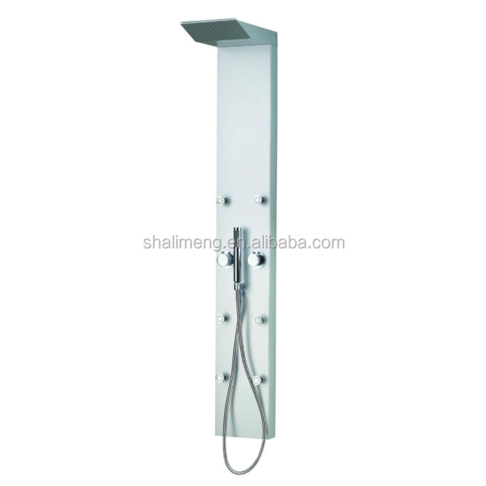 Aluminium alloy shower massage panel system with rain shower head plus hand shower