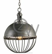 Indoor black grey iron ball cage hanging light new residential chandelier pendant light