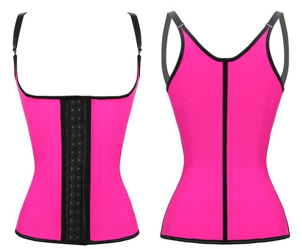 Free Shipping 2015 Walson Steel Boned Latex Tight Body Shaper Corset Vest