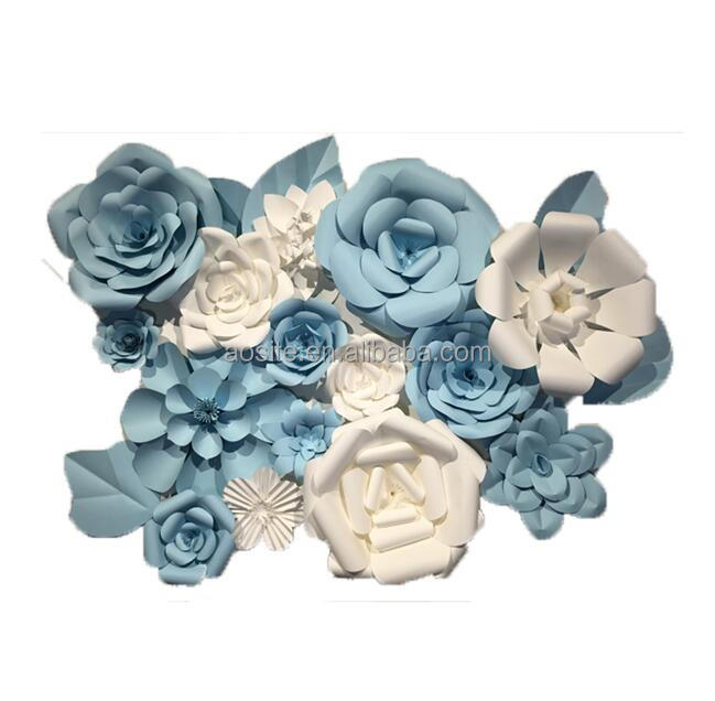 Factory handmade paper flower making blue paper flowers for wedding decoration