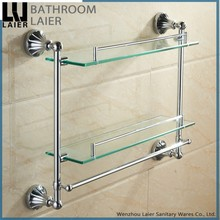 China Supplier Zinc Alloy Chrome Finishing Bathroom Accessories Wall Mounted Double Glass Shelf