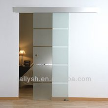 2015 modern Aluminum Glass Sliding Door with side install box railing and inset sliding rollers for balcony
