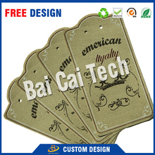 Customized personalized swing tags garment paper clothes hang tag