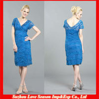HM0010 Patterns New Fashion Sheath natural waist knee length gorgeous blue lace short sleeve mother of the bride short dress
