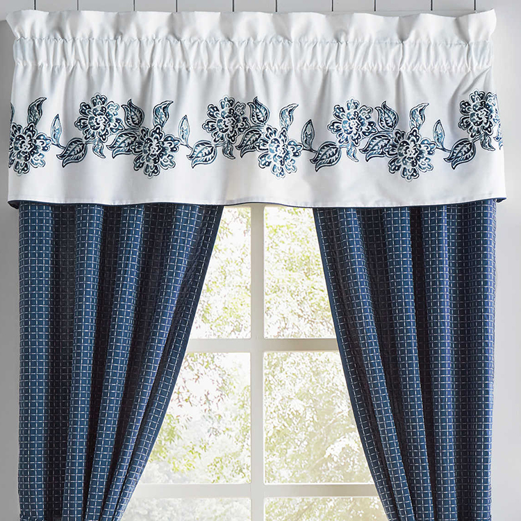 Professional White and blue blackout curtain fabric for living room