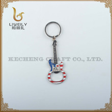 USA flag Guitar Keychain,Cheap Bottle Opener Metal Key Keyring