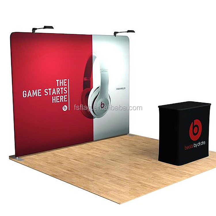 3x3 Promotional Fabric Printing Exhibition Booth Stand Pop up straight display wall