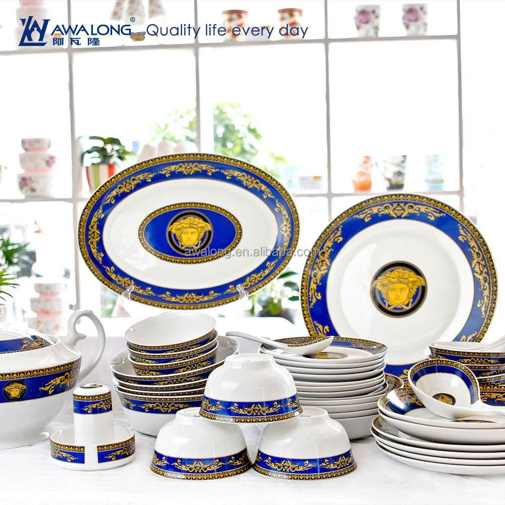 Promotion Pretty Design Royal Style Fine Bone China Blue And White Porcelain Dinnerware , Fine Ceramic Tableware Dinner Set