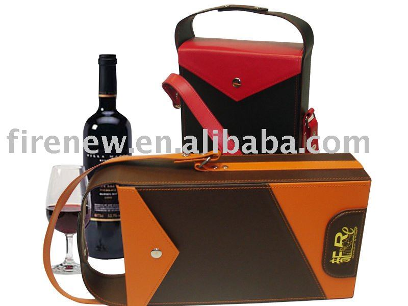 Leather wine bottle carrier with handle strap
