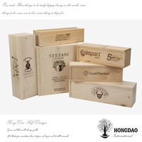 HONGDAO decoration pine wood wine box for 2 bottles, large wooden wine box for 6 bottles