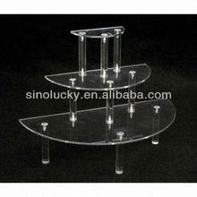 Acrylic Round Display Table, 3 Tiers and Shelves