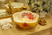 Chinese hand carved fancy ceramic product wash hand basin sizes