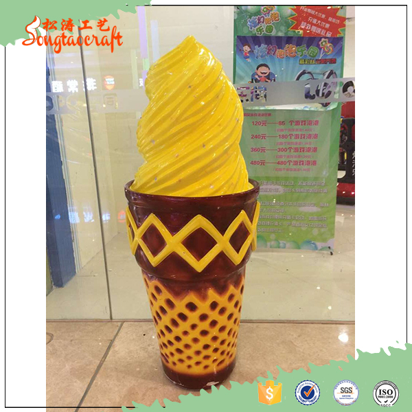 Chinese fiberglass life size artificial ice cream statues