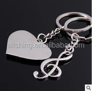 Wholesale music metal key chains/ Heart shape metal key chains/Piano metal key chains