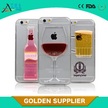 2015 factory price 3d liquid beer cup phone case cocktaill phone case for iphone 6/6 plus/6s